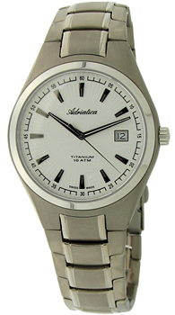 Швейцарские наручные  мужские часы Adriatica 1137.4113Q. Коллекция Titanium