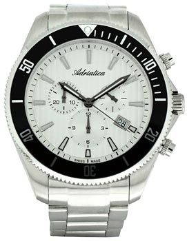 Швейцарские наручные  мужские часы Adriatica 1139.5113CH. Коллекция Chronograph