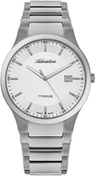 Швейцарские наручные  мужские часы Adriatica 1145.4113Q. Коллекция Titanium
