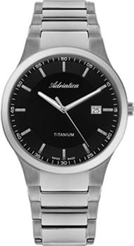 Швейцарские наручные  мужские часы Adriatica 1145.4114Q. Коллекция Titanium
