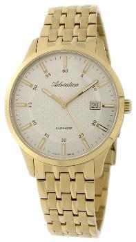 Швейцарские наручные  мужские часы Adriatica 1256.1113Q. Коллекция Twin