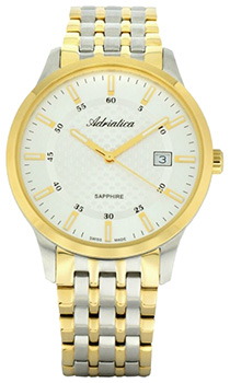 Швейцарские наручные  мужские часы Adriatica 1256.2113Q. Коллекция Twin