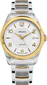 Швейцарские наручные  мужские часы Adriatica 1265.2153Q. Коллекция Twin