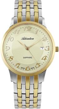 Швейцарские наручные  мужские часы Adriatica 1268.2121Q. Коллекция Twin