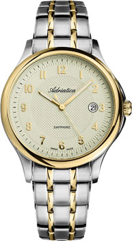 Швейцарские наручные  мужские часы Adriatica 1272.2121Q. Коллекция Twin