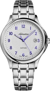 Швейцарские наручные  мужские часы Adriatica 1272.51B3Q. Коллекция Twin