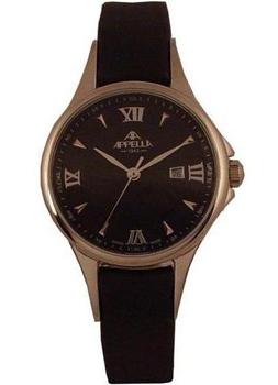 Швейцарские наручные  женские часы Appella 4344-3014. Коллекция Leather