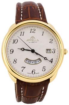 Швейцарские наручные  мужские часы Appella 4365-1011. Коллекция Leather