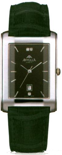 Мужские наручные швейцарские часы в коллекции Leather Line Rectangular Appella