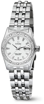 Швейцарские наручные  женские часы Titoni 728-S-DB-307. Коллекция Cosmo Queen