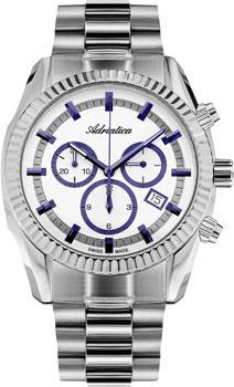Швейцарские наручные  мужские часы Adriatica 8210.51B3CH. Коллекция Chronograph