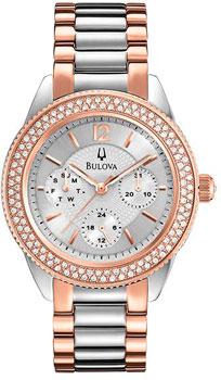 Японские наручные  женские часы Bulova 97N102. Коллекция Crystal