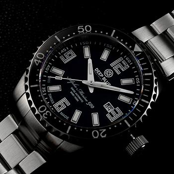Швейцарские наручные  мужские часы Deep Blue AMT100BLKBLK. Коллекция Alpha Marine T 100