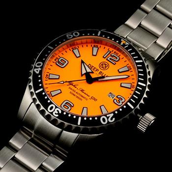 Швейцарские наручные  мужские часы Deep Blue AMT100BLKORG. Коллекция Alpha Marine T 100