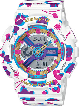 Японские наручные  женские часы Casio BA-110FL-7A. Коллекция Baby-G