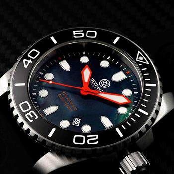 Швейцарские наручные  мужские часы Deep Blue BLKBLKQTZMOP. Коллекция Sea Ram Quartz Mop