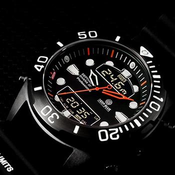 Швейцарские наручные  мужские часы Deep Blue DMADPVDBLK. Коллекция Depthmeter Ana/Digi