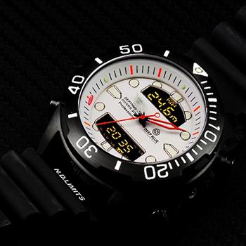 Швейцарские наручные  мужские часы Deep Blue DMADPVDWHT. Коллекция Depthmeter Ana/Digi
