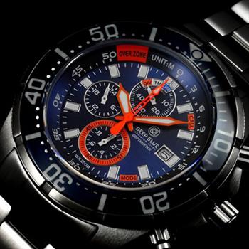 Швейцарские наручные  мужские часы Deep Blue DMTRBLU. Коллекция Depthmeter Pro
