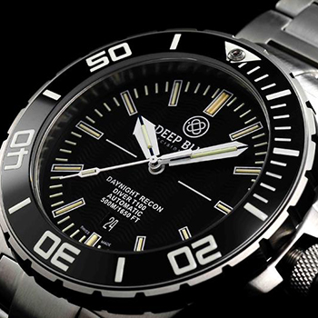 Швейцарские наручные  мужские часы Deep Blue DNR65BLK. Коллекция DayNight Recon T-100