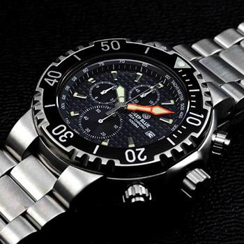 Швейцарские наручные  мужские часы Deep Blue PSC1KBLK. Коллекция Sea Chrono