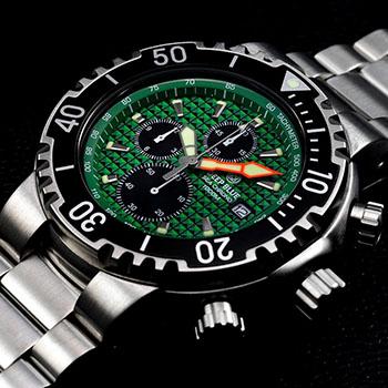 Швейцарские наручные  мужские часы Deep Blue PSC1KGRN. Коллекция Sea Chrono
