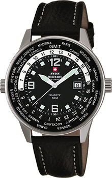 Швейцарские наручные  мужские часы Swiss military SM34007.03. Коллекция Worldtraveller