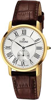 Швейцарские наручные  мужские часы Titoni TQ-52917-G-ST-375. Коллекция Slenderline
