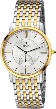Швейцарские наручные  мужские часы Titoni TQ-52917-SY-380. Коллекция Slenderline